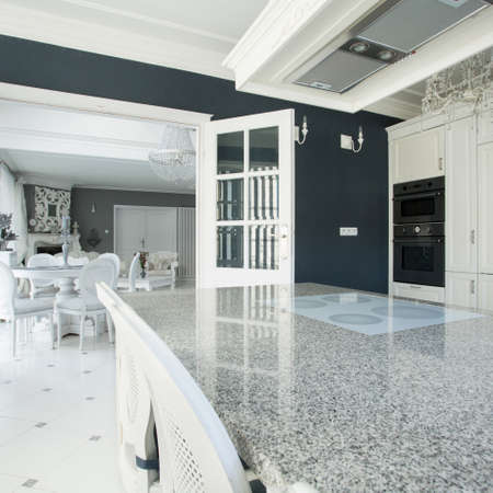 worktop: View of expensive kitchen with marble worktop Stock Photo
