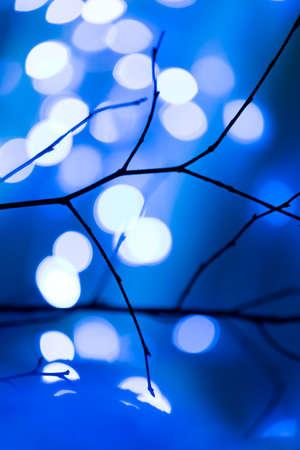 Blue and white winter illumination- outdoor illuminated photo Stock Photo