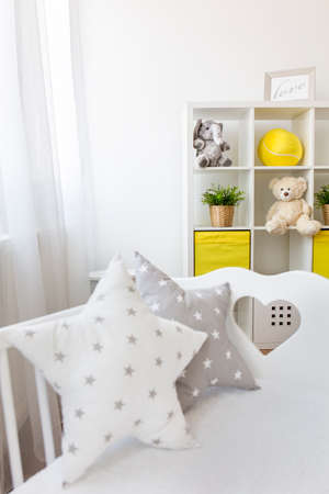 star shaped: Cute star shaped pillow in coy baby room