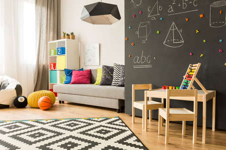 place for children: Shot of a creative room for children with a place for play and learn