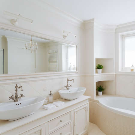 showy: Horizontal picture of a showy bathroom designed in creamy colors