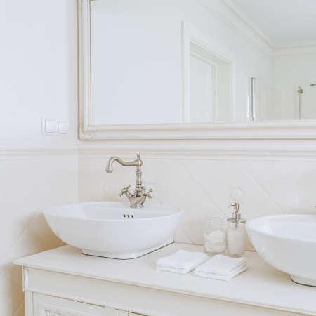 washbasins: Close-up of designed washbasins in retro bathroom