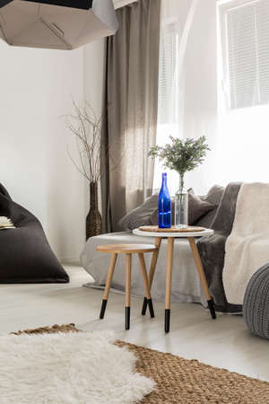 table decoration: Shot of a cosy living room interior, designed in grey tones