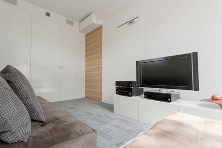 comfort room: Simple little movie room with comfortable couch arrangement
