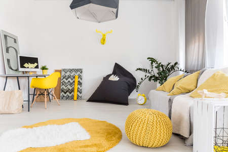 living room wall: Shot of a modern interior with a living area and a minimalist workplace
