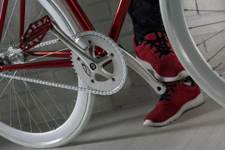 closer: Closer shot of mans feet based on bicycles pedal