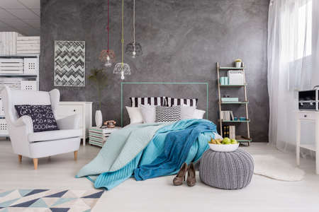 bedroom wall: Spacious bedroom in new style with white furniture, window and decorative wall finish