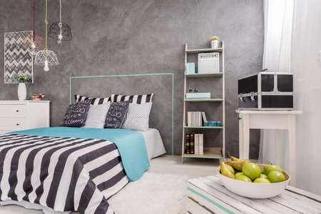 bedroom wall: New design bedroom with window, comfortable bed and decorative wall plaster Stock Photo