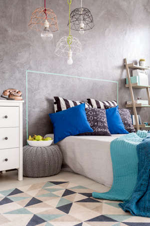 bedroom wall: New design bedroom with pattern carpet, large bed and decorative wall plaster Stock Photo