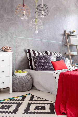 bedroom wall: Modern bedroom with pattern carpet, beautiful pendant lamp and decorative wall finish