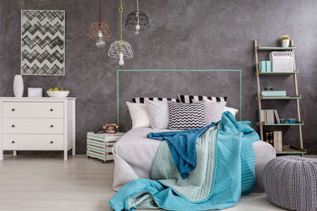 bedroom furniture: New style bedroom with white furniture, large bed, floor panels and decorative wall finish