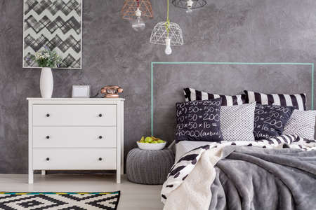 bedroom wall: New design bedroom with simple white commode and decorative wall finish