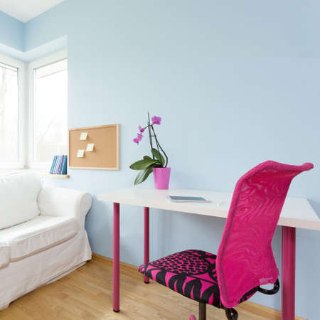 modest: Contemporary decor of modest teenage girls apartment