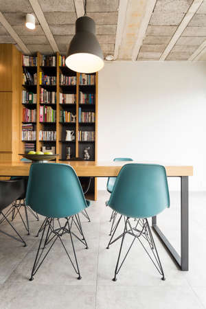 ceiling tile: Photo of a dining room in a modern apartment with post industrial decor