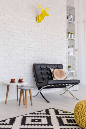 panelled: Shot of a modern flat with white brick wall, designer seat and decorative cardboard antlers Stock Photo
