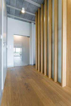 anteroom: Empty, spacious corridor in a modern interior with wooden floor and decorative wooden boards on the wall