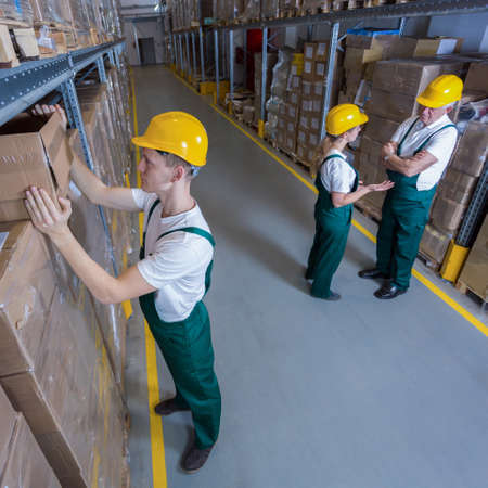 stockroom: Plant workers during their work in warehouse