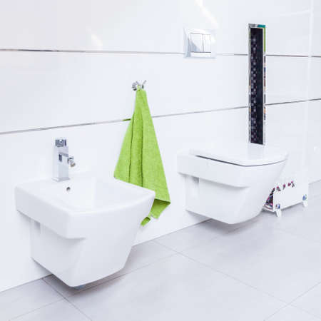 bidet: Exclusive white restroom with porcelain toilet and bidet Stock Photo