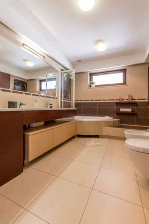 fitted unit: Shot of a vast bathroom with tiled floor and walls, and a large fitted mirror Stock Photo