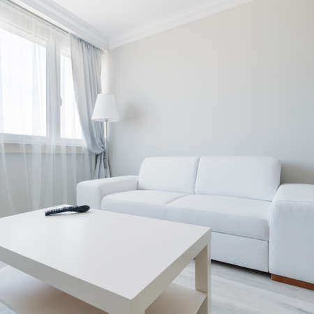 living room design: Horizontal view of minimalist living room design Stock Photo