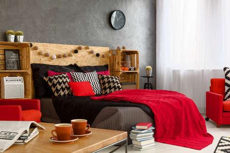 inspiring: Brave inspiring female bedroom design with red color