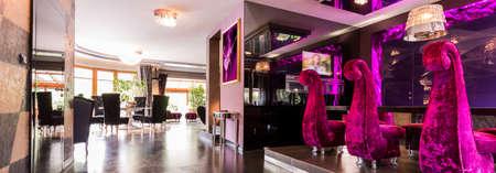 open plan: Cristal chandeliers in shiny purple open plan interior