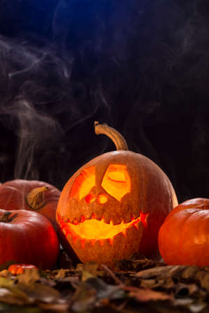Shot of Halloween pumpkins decoration, autumn leaves and a smoke in the air