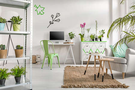 White flat interior with simple storage unit, desk, computer, chair, armchair, commode and decorative houseplants