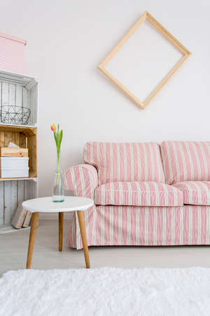 upholstered: Light room with upholstered pattern sofa, small table and handmade regale