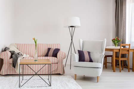 upholstered: Light interior with upholstered pattern sofa, comfortable armchair, dining table with chairs in the background