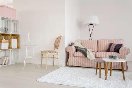 upholstered: Light living room with upholstered sofa, chair and handmade wooden regale Stock Photo