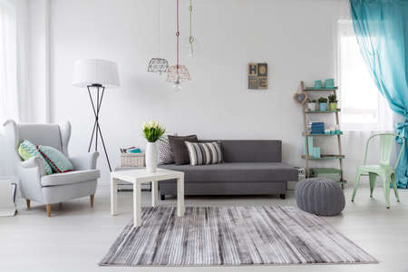 cosy: Cosy female room interior with pastel mint decorations Stock Photo