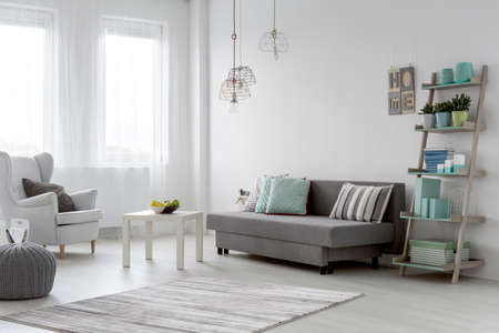 bright light: Minimalist arrangement in trendy bright mint flat interior