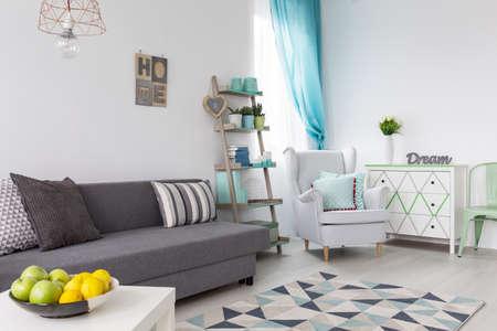 romance sky: Inspiring pastel mint decorations in bright trendy room