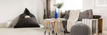 bean bag: Modern interior with bean bag chair and minimalistic coffee tables