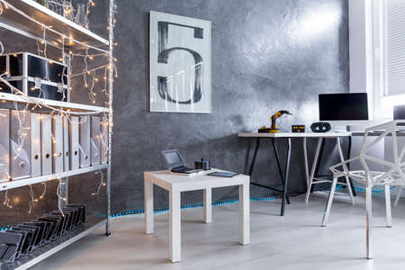 decorative wall: New style study room with decorative wall finish in grey and trendy white furniture