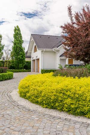 walkway: Paver walkway to front door of beautiful house