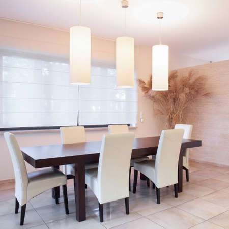 dining table and chairs: Table with chairs in dining room, horizontal