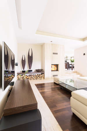 fireplace living room: Splendid bright living room in a modern villa, with travertine fireplace and contemporary sculptures