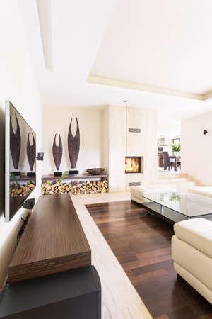 Splendid luminoso soggiorno in una villa moderna, con camino in travertino e sculture contemporanee