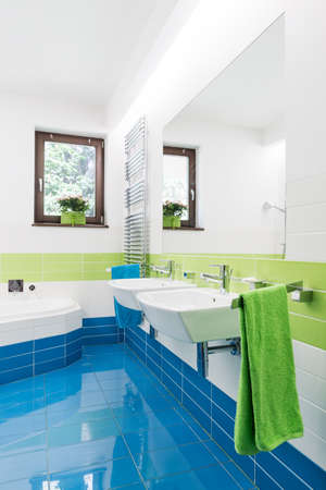double sink: Shot of a positive bathroom with blue and green tiles and a corner bath