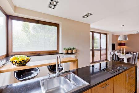 open plan: Modern style house with open plan kitchen interior
