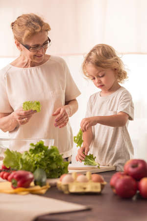 grandkid: Happy grandmother cooking with a small grandchild Stock Photo