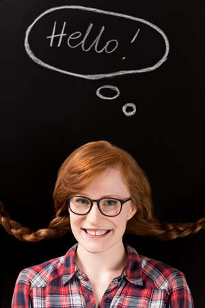 plaits: Portrait of smiled, red-haired, young woman in plaits and glasses
