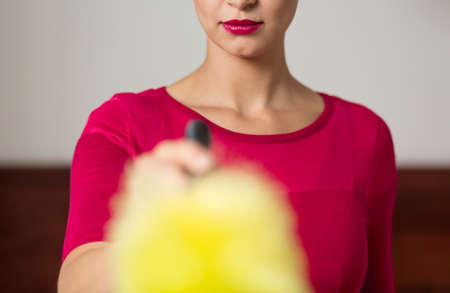 pedant: Closer shot of pink dressed woman keeping the dusting brush in her hand
