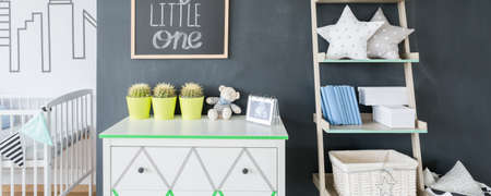 scandinavian people: Modern baby room with white furniture and chalkboard, panorama Stock Photo
