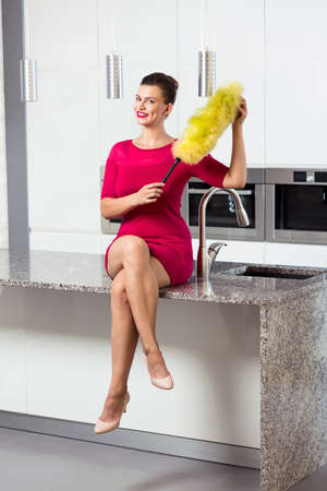 dusting: Woman in pink dress sitting on the worktop with the dusting brush