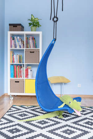Cozy child room with a book stands, carpet and a design swing