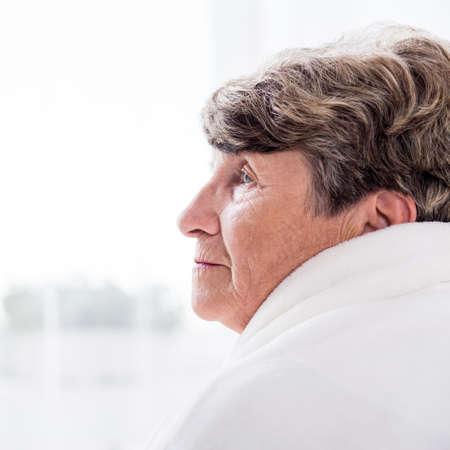 resident: Portrait of female elderly resident of care home