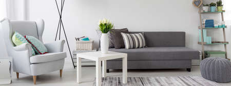 cosy: Living room interior with a couch, coffee table and cosy armchair